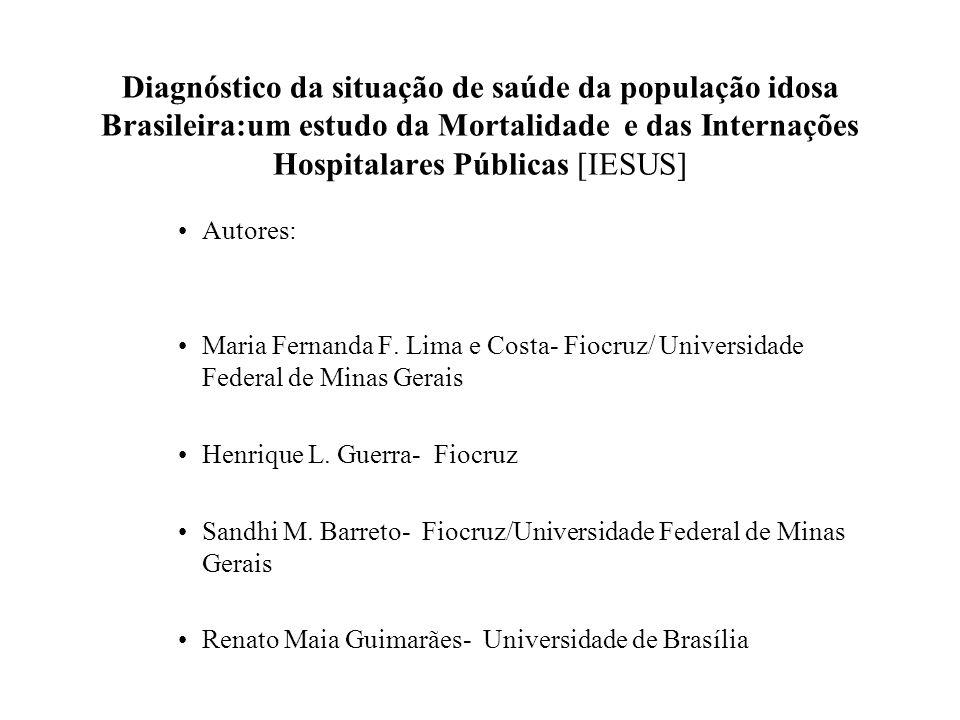 Diagnóstico da situação de saúde da população idosa Brasileira:um estudo da Mortalidade e das Internações Hospitalares Públicas [IESUS]